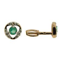Золотые серьги гвоздики с бриллиантами и изумрудами