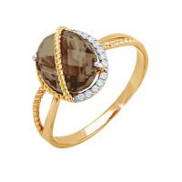 Золотое кольцо с раухтопазами и фианитами ЮПК1345334тр