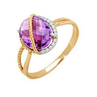 Золотое кольцо с аметистами и фианитами ЮПК1345334ам