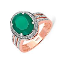 Золотое кольцо с бриллиантами и ониксом 9К11-0448