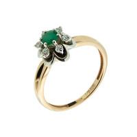 Золотое кольцо с бриллиантами и изумрудом ЗСК17000193