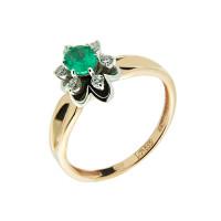 Золотое кольцо с бриллиантами и изумрудом ЗСК17000112
