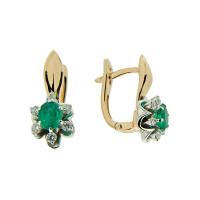 Золотые серьги с бриллиантами и изумрудами ЗСС17010112