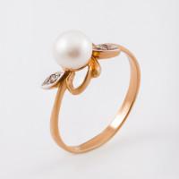 Золотое кольцо с жемчугом и фианитами ФЖ31018.1