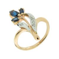 Золотое кольцо с бриллиантами и сапфирами ЗСК13000264