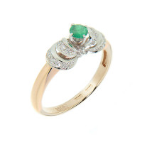 Золотое кольцо с бриллиантами и изумрудом ЗСК12000108