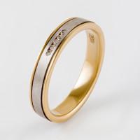 Золотое кольцо обручальное с фианитами ЛД0211210000316