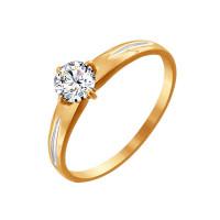 Золотое кольцо с фианитами ДИ81010174