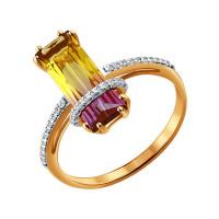 Золотое кольцо с фианитами и ситалом ДИ713932