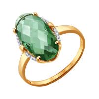 Золотое кольцо с кварцем и фианитами ДИ714036
