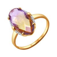 Золотое кольцо с ситалом и фианитами ДИ714094