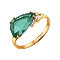Золотое кольцо с кварцем и фианитами ДИ714116