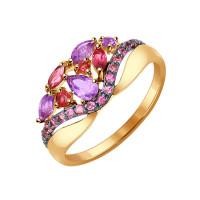 Золотое кольцо с родолитами и аметистами