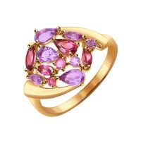 Золотое кольцо с аметистами и родолитами ДИ714341