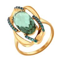 Золотое кольцо с кварцем и фианитами ДИ714357