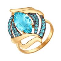Золотое кольцо с ситалом и фианитами ДИ714481
