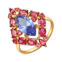 Золотое кольцо с родолитами и ситалом