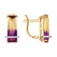 Золотые серьги с ситалом и фианитами ДИ724001