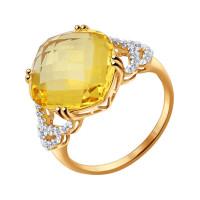 Золотое кольцо с кварцем и фианитами ДИ714290