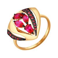 Золотое кольцо с корундами и фианитами ДИ714480