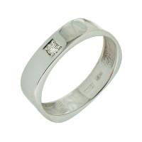 Кольцо из белого золота обручальное с бриллиантом
