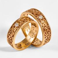 Золотое кольцо обручальное с бриллиантом 7ЮАК1.1