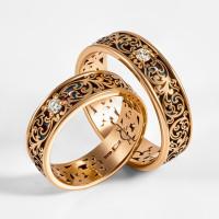 Золотое кольцо обручальное с бриллиантом и эмалью 7ЮАК1.1В