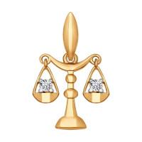 Золотой знак зодиака «весы» ДИ034720