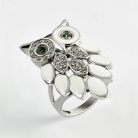 Серебряное кольцо с фианитами, эмалью и сваровски 9К1-004С