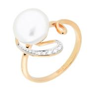 Золотое кольцо с жемчугом и фианитами ВК1-8192