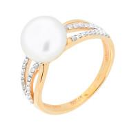 Золотое кольцо с жемчугом и фианитами ВК1-8892