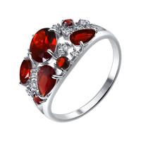 Серебряное кольцо с гранатами и фианитами ДИ92010220