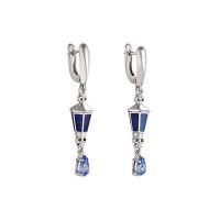 Серебряные серьги подвесные с фианитами и эмалью 9К12-027С