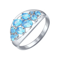 Серебряное кольцо с топазами ДИ92011097