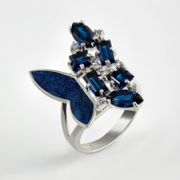 Серебряное кольцо с шпинелью, фианитами и эмалью 9К11-025С