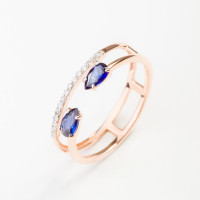 Золотое кольцо с бриллиантами и сапфирами гт ЮПК1389884сп