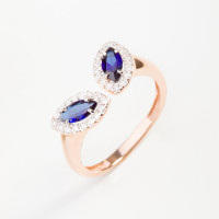 Золотое кольцо с бриллиантами и сапфирами гт ЮПК1389887сп