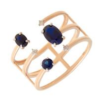 Золотое кольцо с бриллиантами и сапфирами гт ЮПК1389888сп