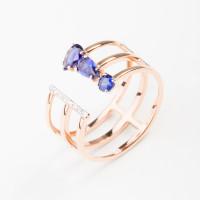 Золотое кольцо с бриллиантами и сапфирами гт