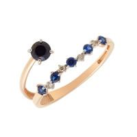 Золотое кольцо с бриллиантами и сапфирами гт ЮПК1389891сп