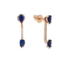 Золотые серьги гвоздики с бриллиантами и сапфирами гт ЮПС1389884сп