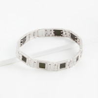 Серебряный браслет мужской с ониксами и фианитами РЫ4002850С