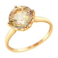 Золотое кольцо с топазом и фианитами ДИ714915