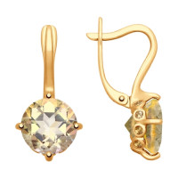 Золотые серьги с сваровски и топазами swarovski женские
