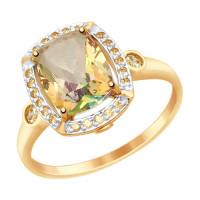 Золотое кольцо с сваровски и топазами swarovski ДИ714984