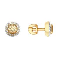 Золотые серьги гвоздики с топазами и сваровски ДИ725297