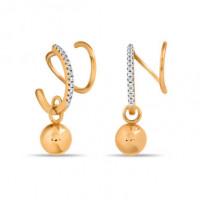 Золотые серьги подвесные с фианитами СН01-215130