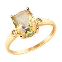 Золотое кольцо с сваровски и топазами swarovski