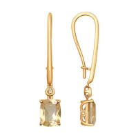 Золотые серьги подвесные с сваровски и топазами swarovski ДИ725232
