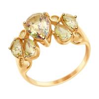 Золотое кольцо с сваровски и топазами swarovski ДИ714991